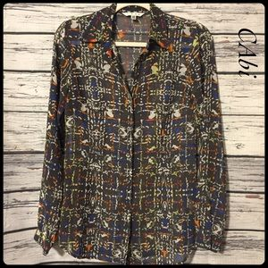 CAbi gray sheer multi color button down top